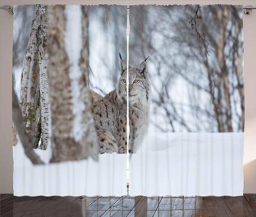 ABAKUHAUS Animal Cortinas, Lynx Europea Desierto, Estampa ...