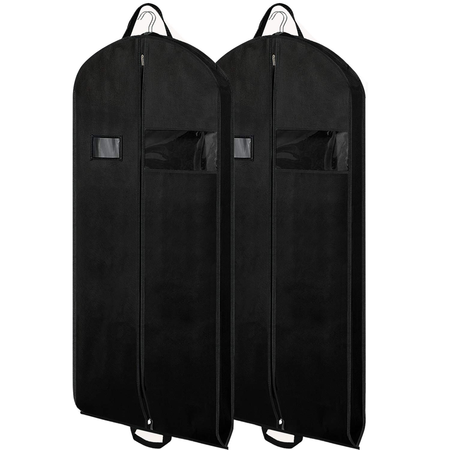 c27cd2585934 Zilink Black Garment Bags Suit Bags for Travel 54 inch Breathable Dresses  Cover Bag with Gusseted, Clear Window and ID Card Holder for Suit Coat ...