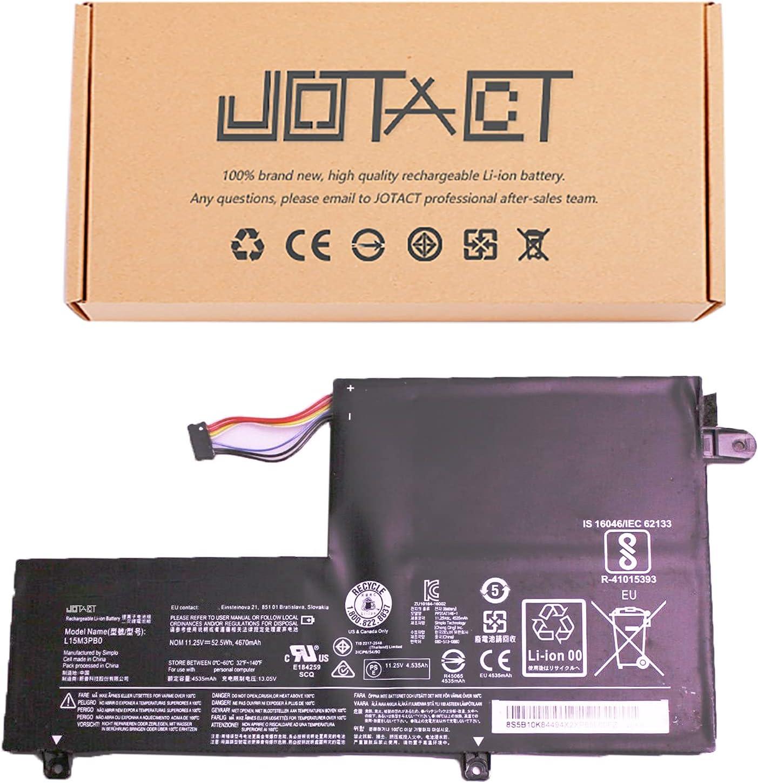 JOTACT L15M3PB0(11.25V 52.5Wh/4670mAh 3-Cell) Laptop Battery Compatible with Lenovo Edge 2-1580 Flex 3 4 1470/1480/1570/1580 300S-14ISK 310S-14AST Series Notebook L15L3PB0 L15M2PB1 L15L2PB1 (Type C)