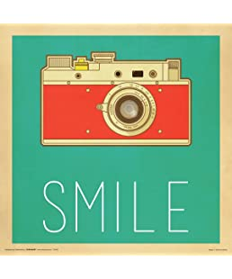 Camera Smile Retro Vintage Hipster Decorative Inspirational Art Print (Unframed 12x12 Poster)