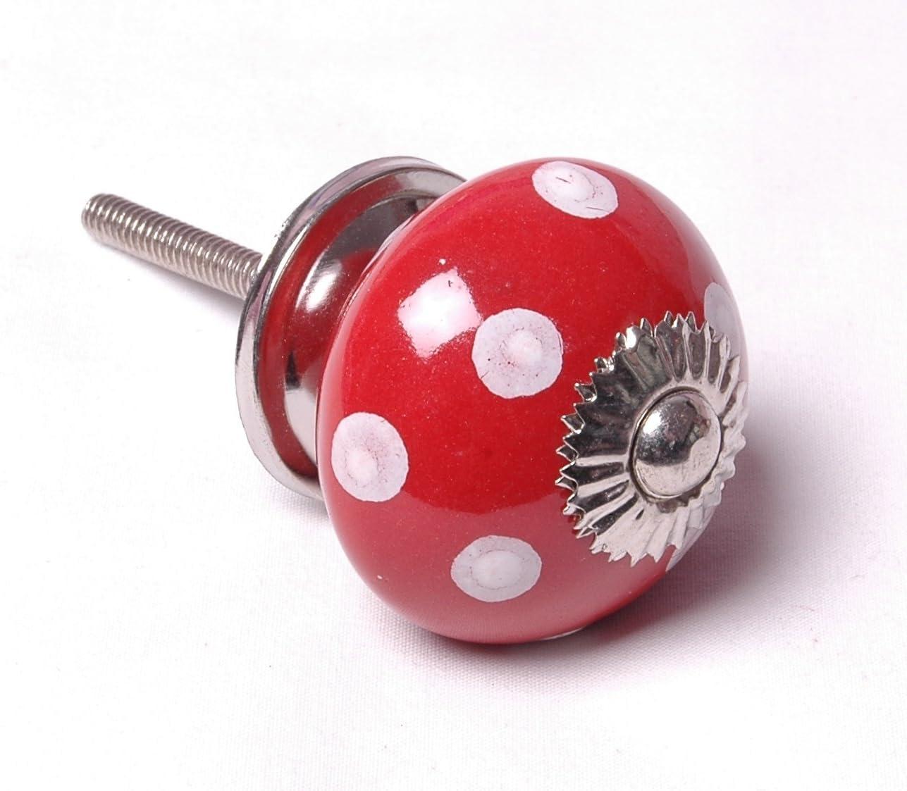 Dotcomgiftshop Tiroir Bouton en céramique rouge