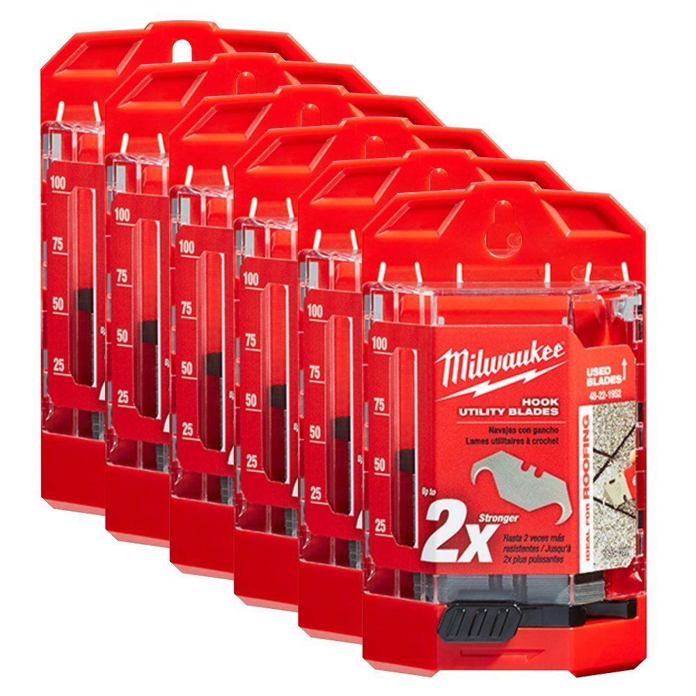 Milwaukee 48-22-1952 50 PC Hook Utility Knife Blades w/ Dispenser 6 Pack by Milwaukee
