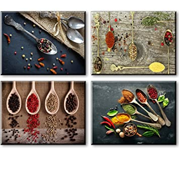 SZ Canvas Prints for Kitchen Wall Decor, 4 Piece Set Spice and Spoon  Vintage Canvas