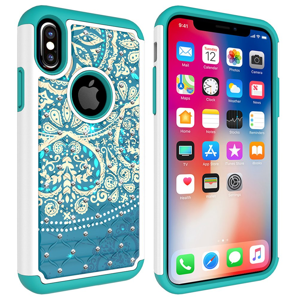 iPhone X Case, MagicSky [Shock Absorption] Studded Rhinestone Bling Hybrid Dual Layer Armor Defender Protective Case Cover for iPhone X (2017) - Flower1