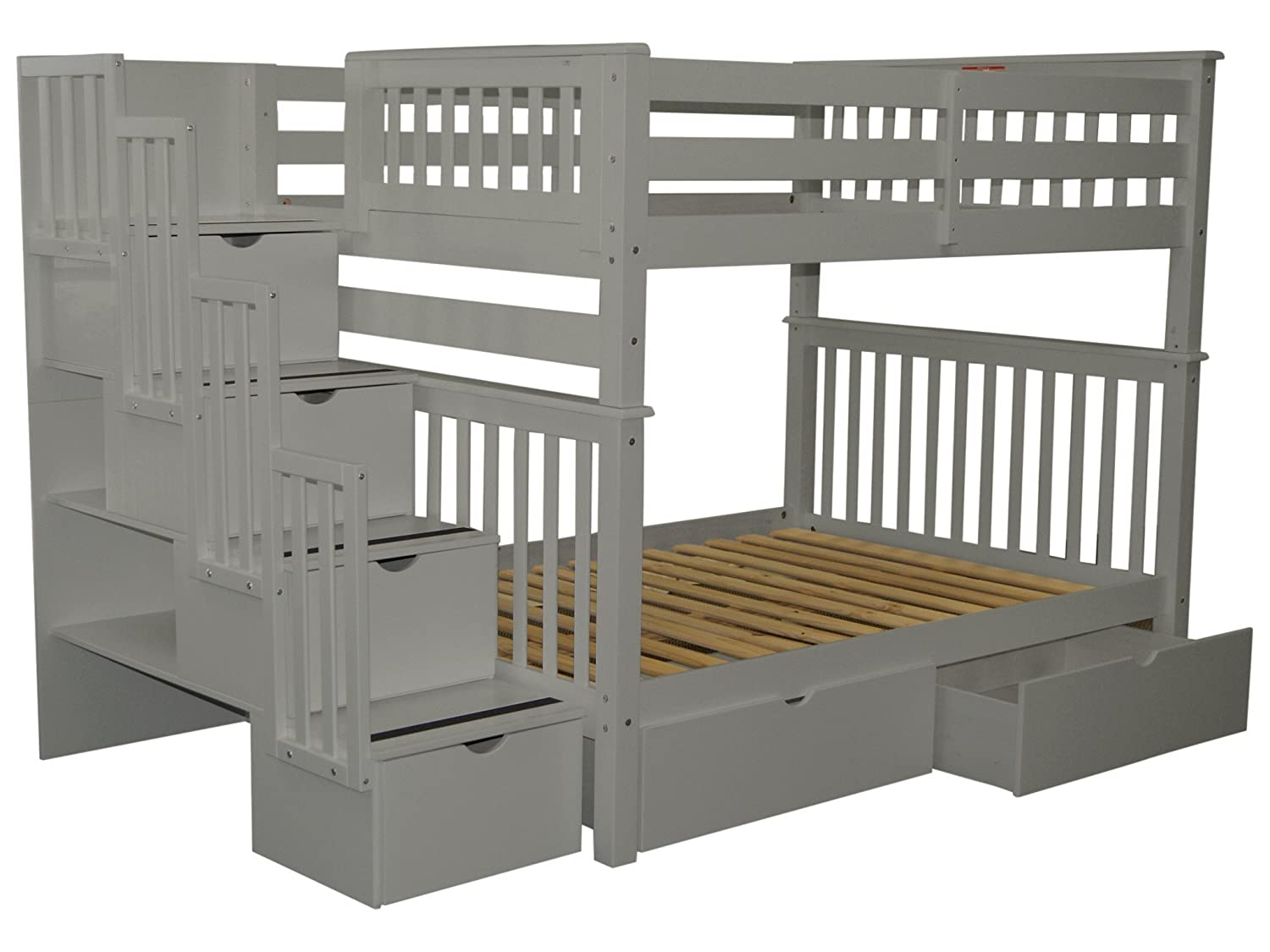 Bedz King Stairway Bunk Beds Full over Full with 4 Drawers in the Steps and 2 Under Bed Drawers, Gray