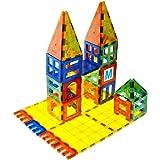 Mag-Genius building Magnet Tiles 3D Brain Building Blocks Set of 120 Pieces Includes 13 New Plastic Fun Clickins Includes 2 C