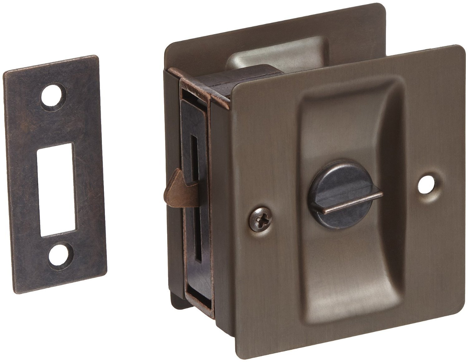 Rockwood 891.10B Brass Pocket Door Privacy Latch, 2-1/2'' Width x 2-3/4'' Height, Satin Oxidized Oil Rubbed Bronze Finish by Rockwood (Image #1)