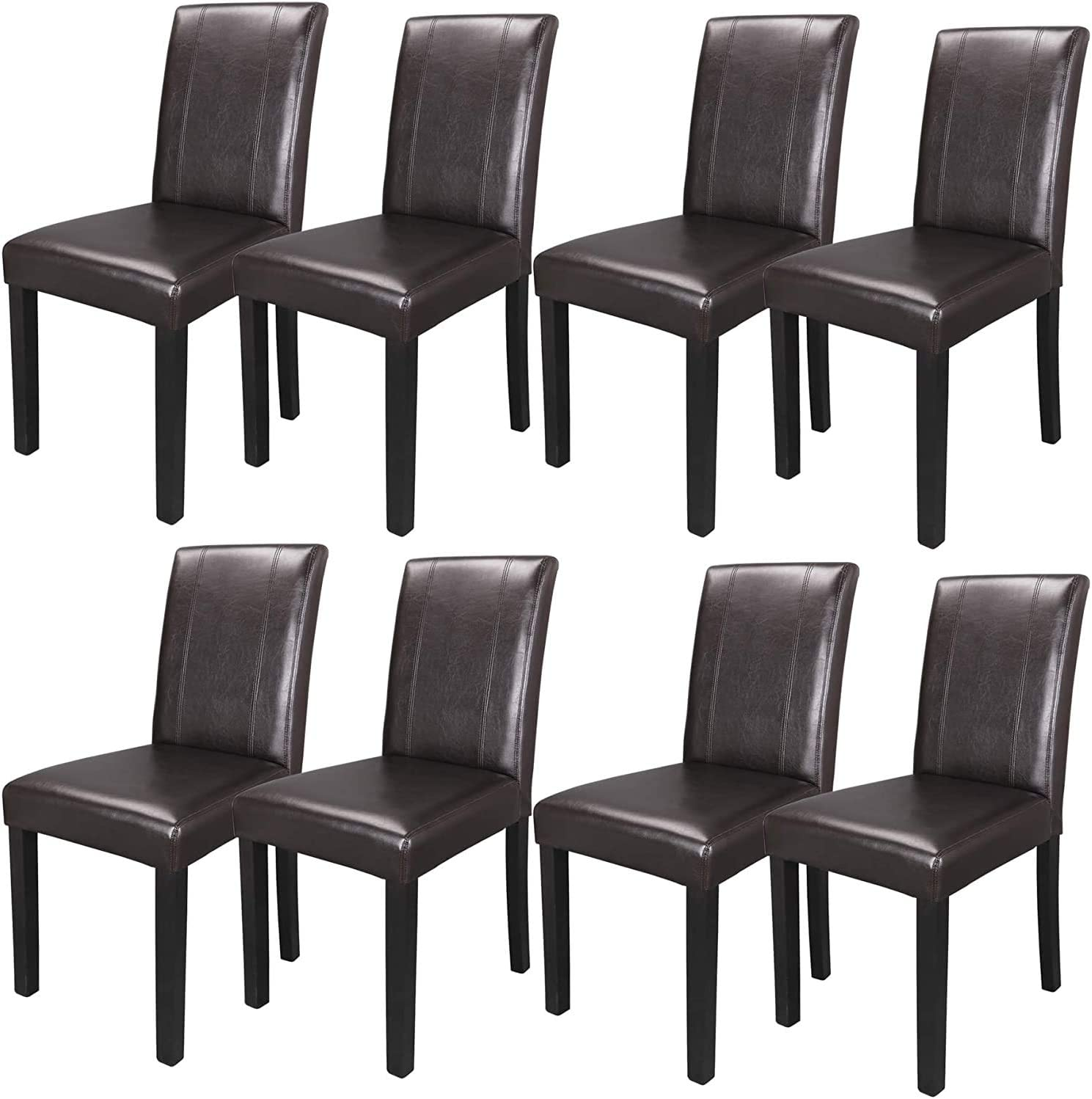 Amazon Com Zeny Set Of 8 Leather Dining Room Chairs With Wood Legs Chair Urban Style Chairs