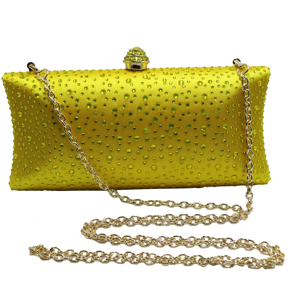 40913efcd5 DMIX Womens Crystal Evening Clutch and Evening Bags with Sparkle Rhinestone  Diamonds for Ladies Wedding Prom Evening Purse Yellow  Handbags  Amazon.com