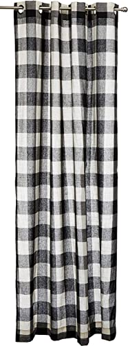 LORRAINE HOME FASHIONS 09570-84-00146 Black Courtyard Grommet Window Curtain Panel, Black, 53 X 95