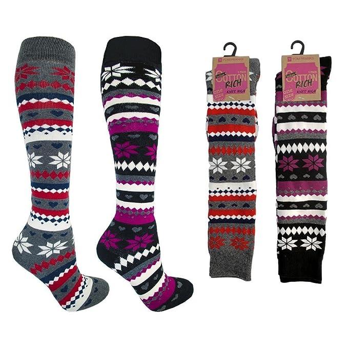 Gruesos Para Mujer Lluvia Altura A Rodilla Paquete De 3 Diseño Fairisle Calcetines Térmicos Talla 4-7: Amazon.es: Ropa y accesorios