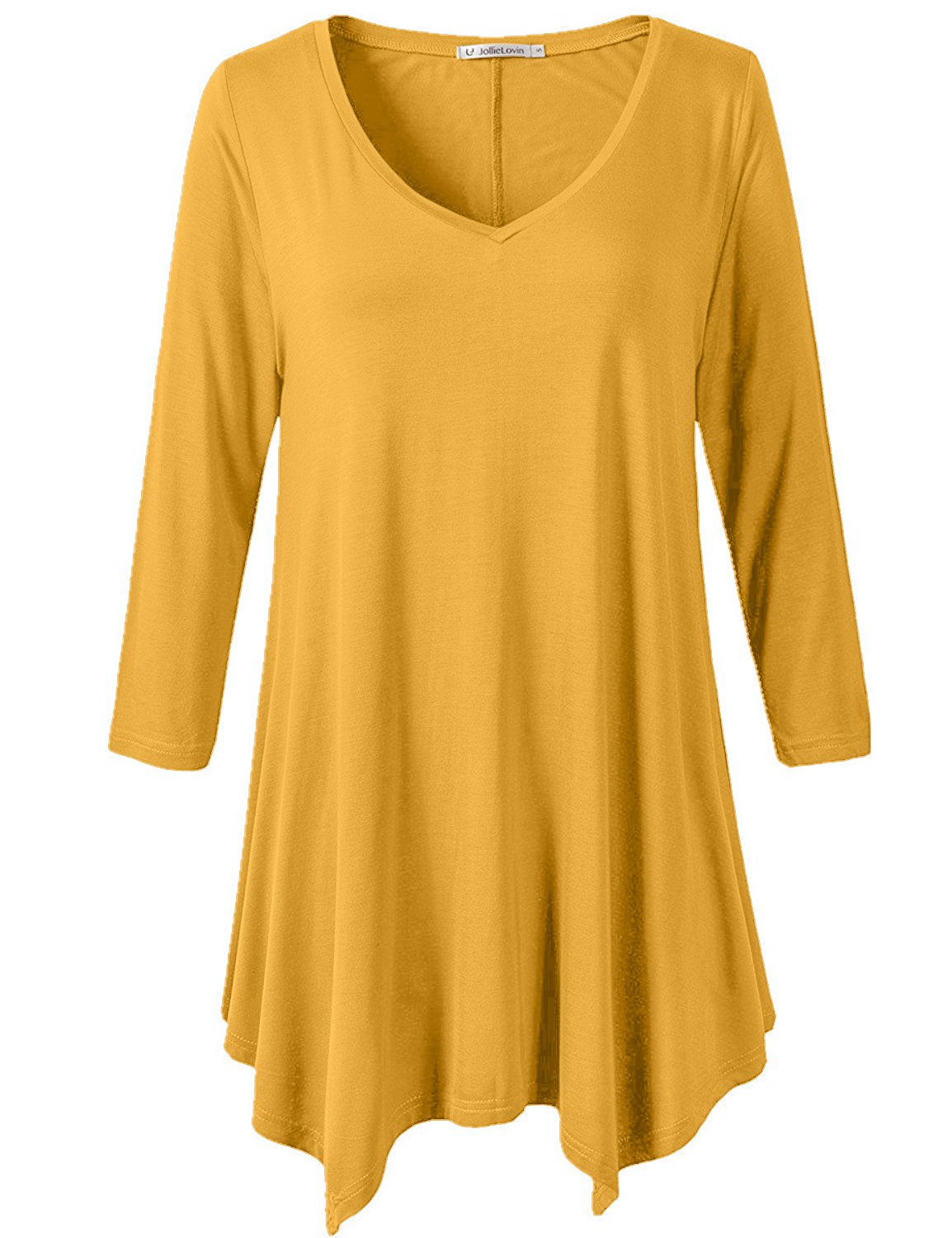 JollieLovin Womens Plus Size 3/4 Sleeve Loose-fit T Shirt for Leggings Tunic Top (Yellow, 1X)