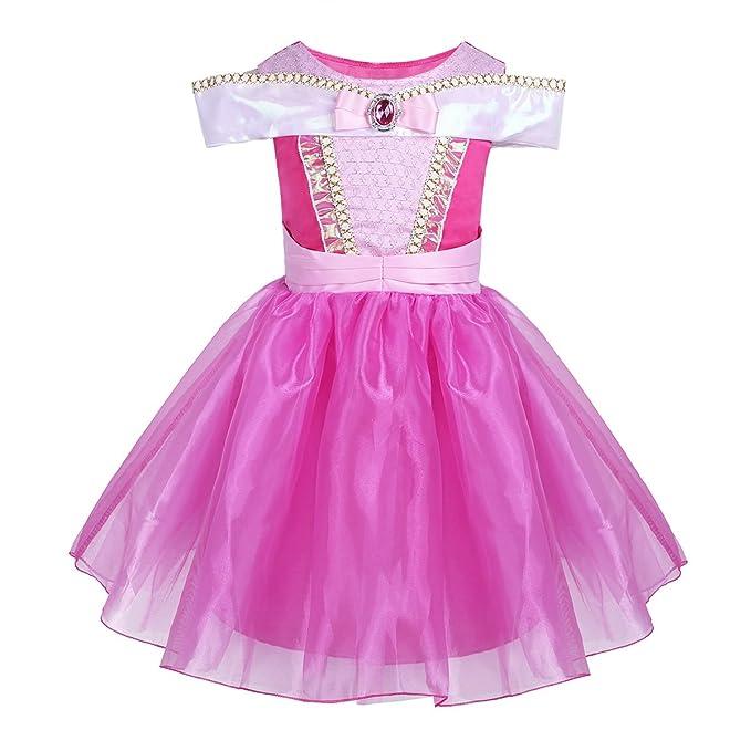 iEFiEL Vestido de Princesa Fiesta Actuación para Niña Disfraz Infantil con Diamante Traje de Ceremonia Niña