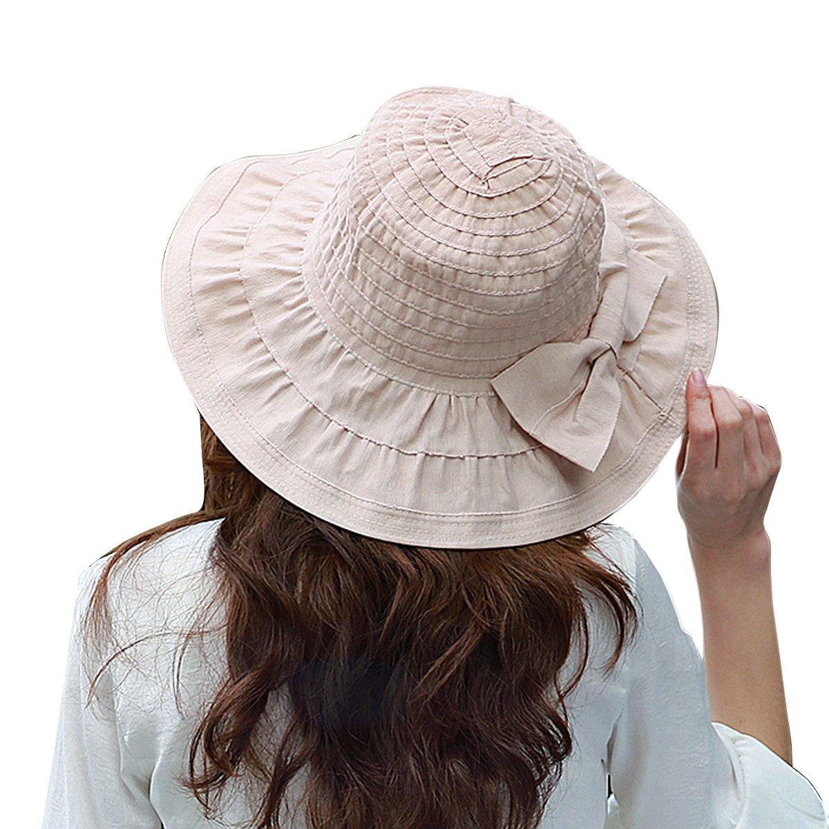 TININNA donne pieghevole Grande tesa larga Bowknot Cappello di Sun spiaggia di estate del Cappello d...