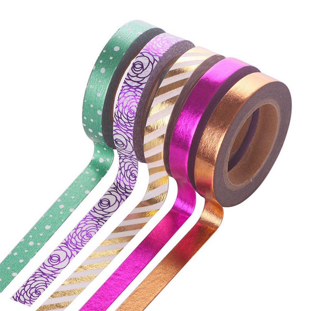Gespout 6PCS Ruban de masquage Ruban adhésif Papier ruban décoratif Beau Scrapbooking Décoration 15 mm x 10 m (Noir)