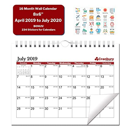 Small Wall Calendar 2020 Amazon.: Small Academic Calendar 2019 2020 (Ruby Red) 8x6