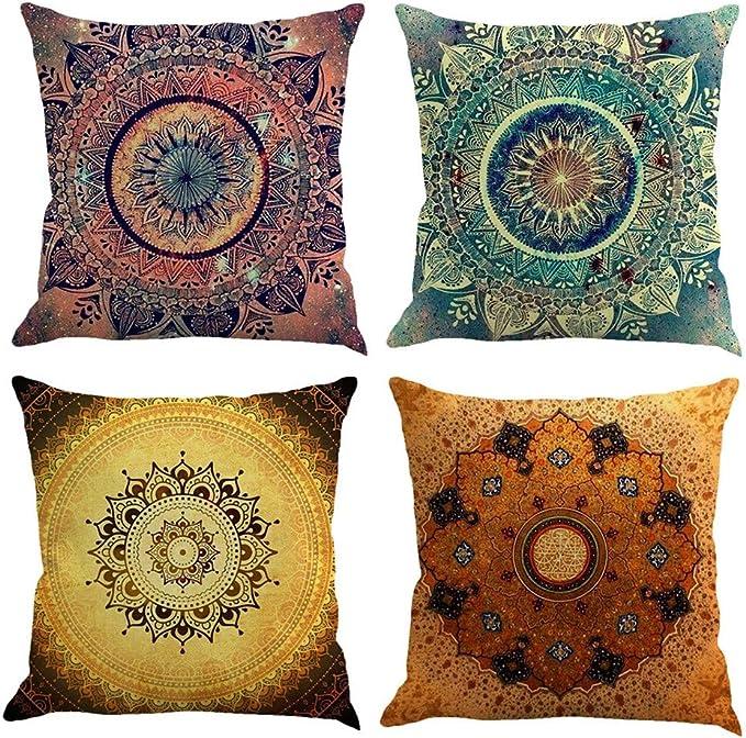 Gspirit 4 Pack Retro Mandala Bohemia Algodón Lino Throw Pillow ...