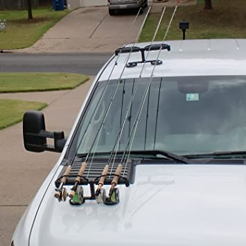 Suv roof rack 6 fishing rod carrier cosmecol for Roof rack fishing rod holder