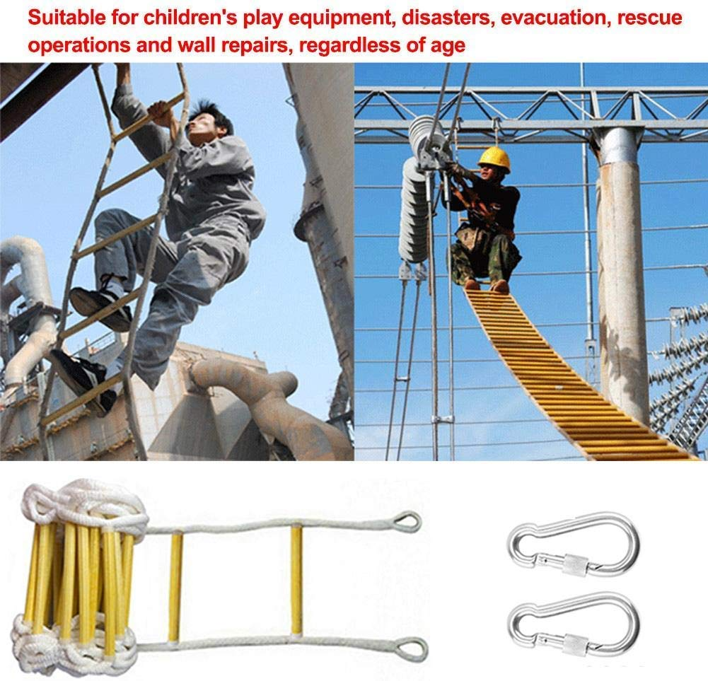 Flame Resistant Safety Rope Ladder with Hooks 9 Ft Emergency Fire Escape Ladder Reusable,Weight Capacity Up to 2500 Pounds 2 Story Fast to Deploy /& Easy to Use,Compact /& Easy to Store