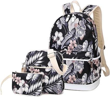 3Pcs//Set School Backpack Shoulder Bookbag USB Port Bag Travel Rucksack for Teens
