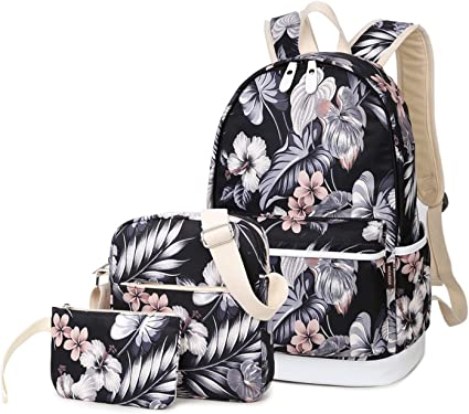 3pcs//set Women Backpack Bookbag Laptop Shoulder Bag Travel School Bags For Girl