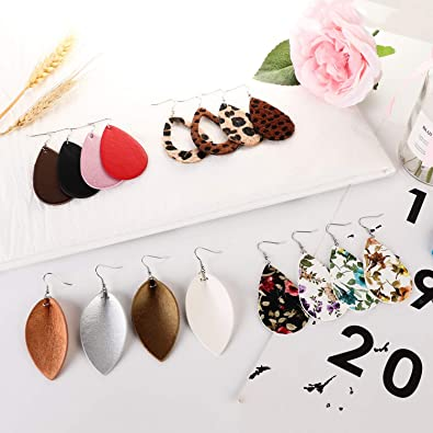 16 Pairs Leather Earrings for Women