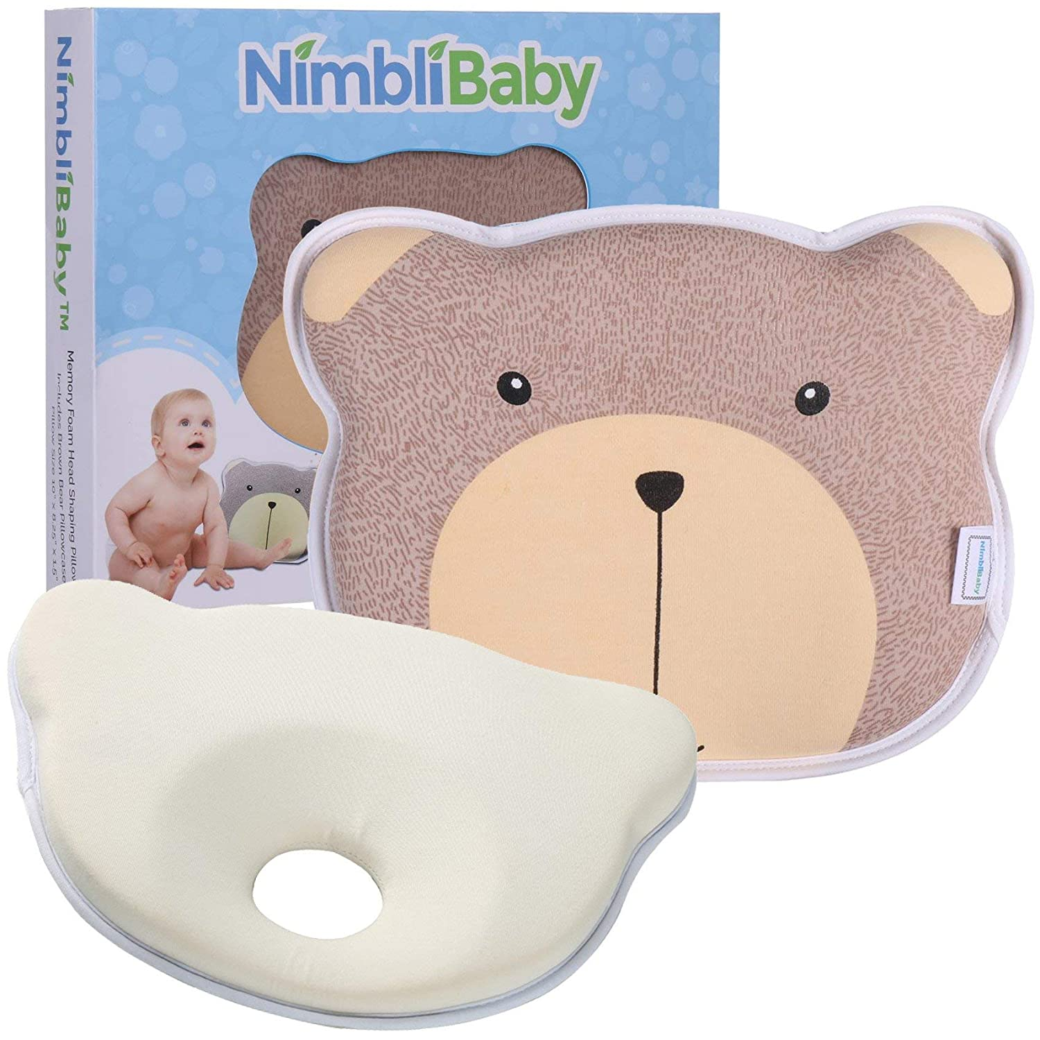 BEST BABY Cute Bear Pattern Baby Head-shaping Pillow for Infant Baby 4 Colors