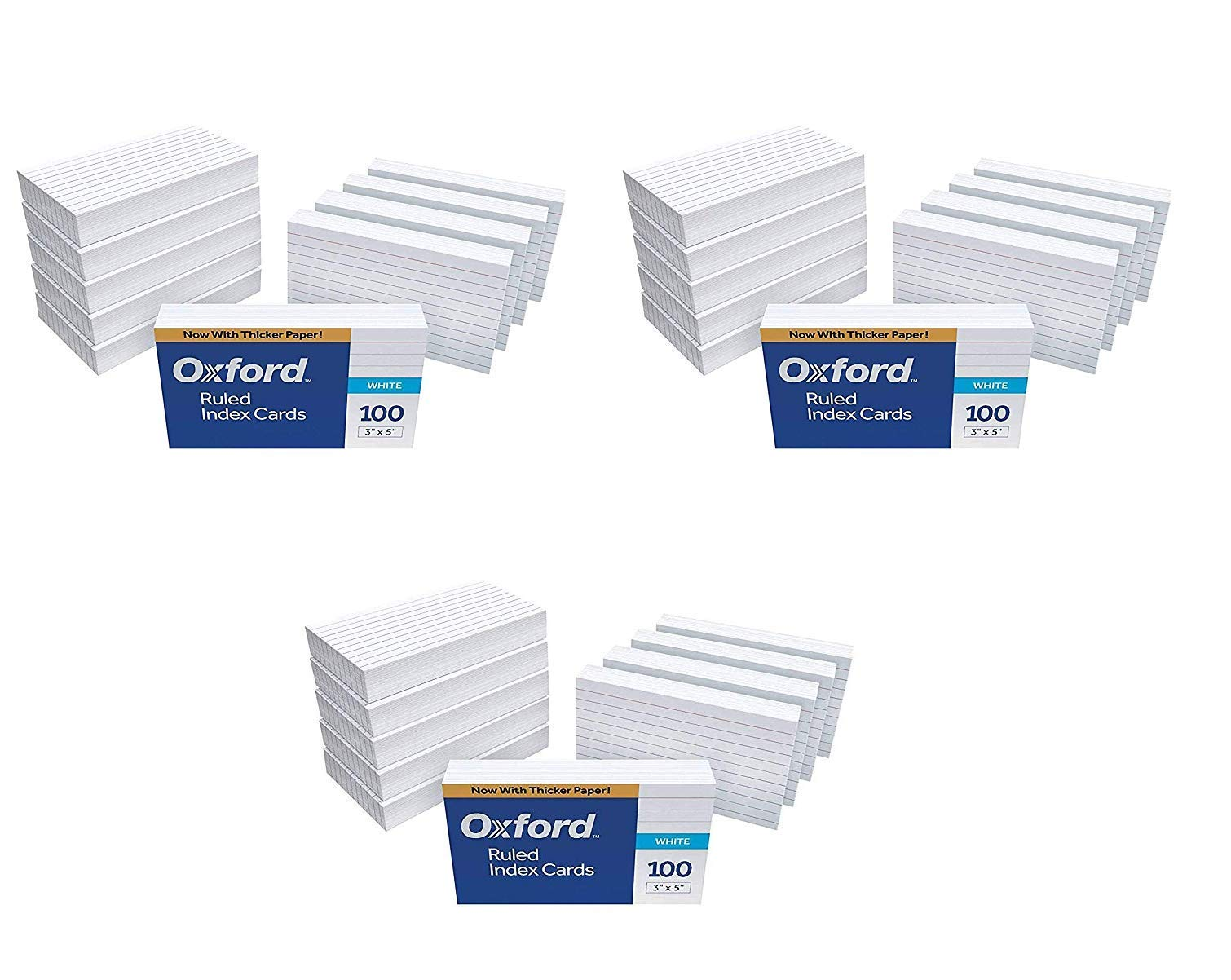 Oxford Ruled Index Cards, 3'' x 5'', White, 1,000 Cards, 3,000 Cards (30 Pack of 100, 31EE) by Oxford