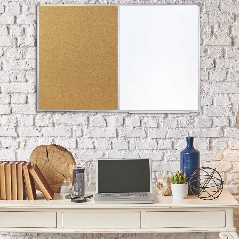 80 x 110 cm silberner Aluminiumrahmen f/ür Schule Lockways Whiteboard /& Hinweis Pinnwand Kombination Wohnung und B/üro