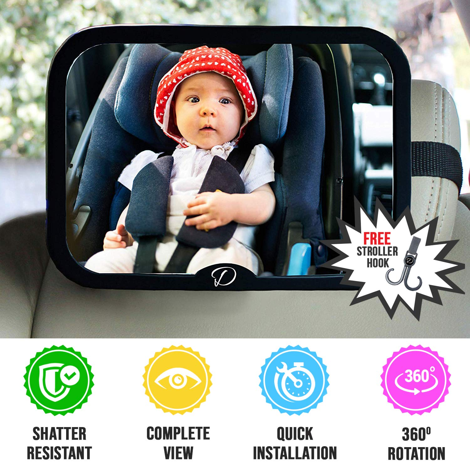Baby Car Mirror for Back Seat - Full View Infant in Rear Facing Car Seat with Crystal Clear Safety Shatterproof 360 Degree Adjustable Strong Joint by Dave Design
