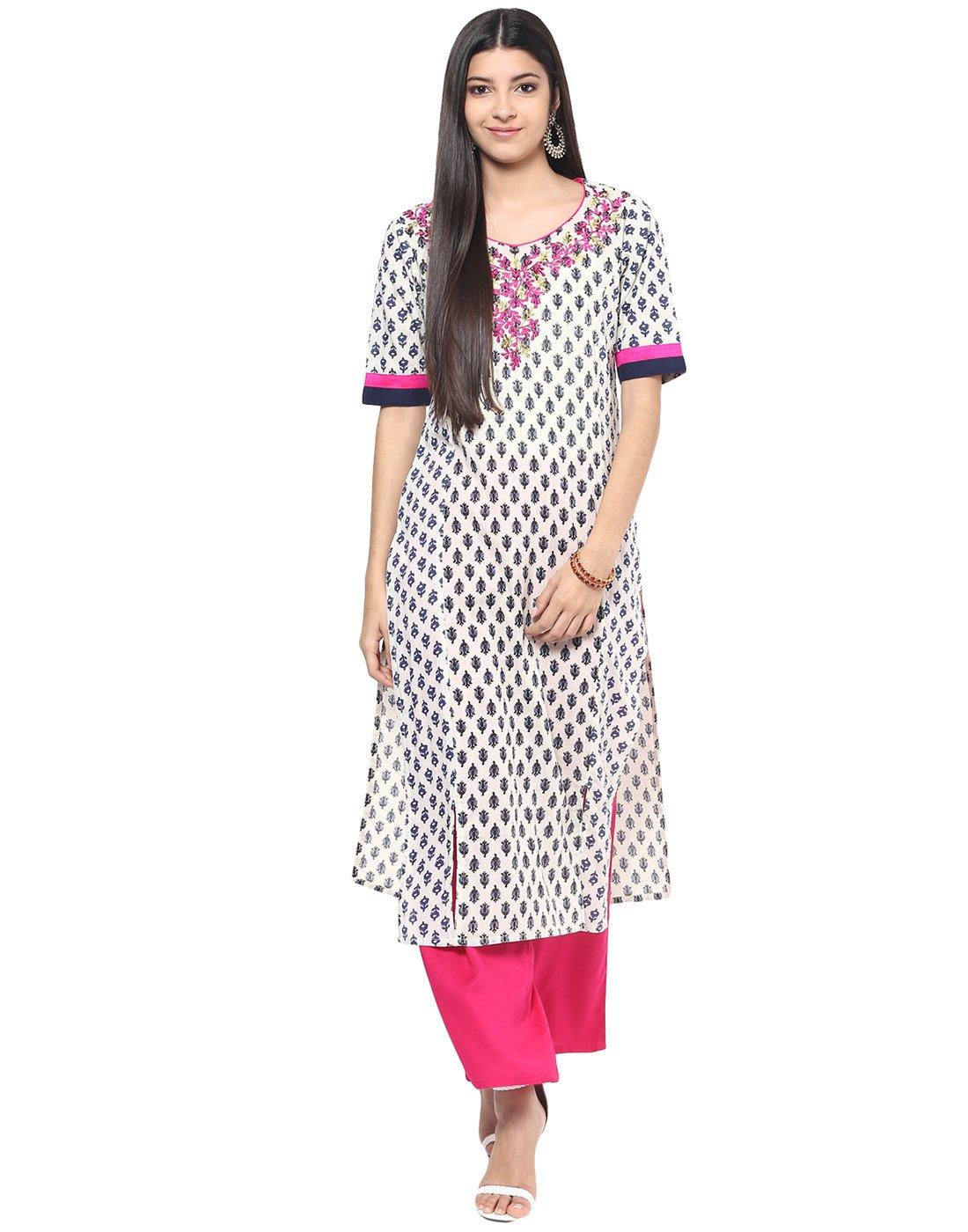 Jaipur Kurti Women's Cotton Embroidered Kurta XX-large Off-White