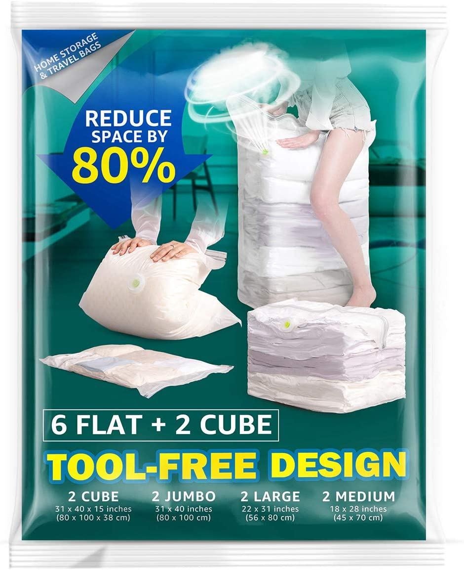 Vacuum Storage Bags,Space Saver Bags for Comforters Blankets Clothes Pillows Travel Space Saver Vacuum Seal Bag No Pumps Needed 8 Pack (2 x Medium, 2 x Large, 2 x Jumbo, 2 x Cube)