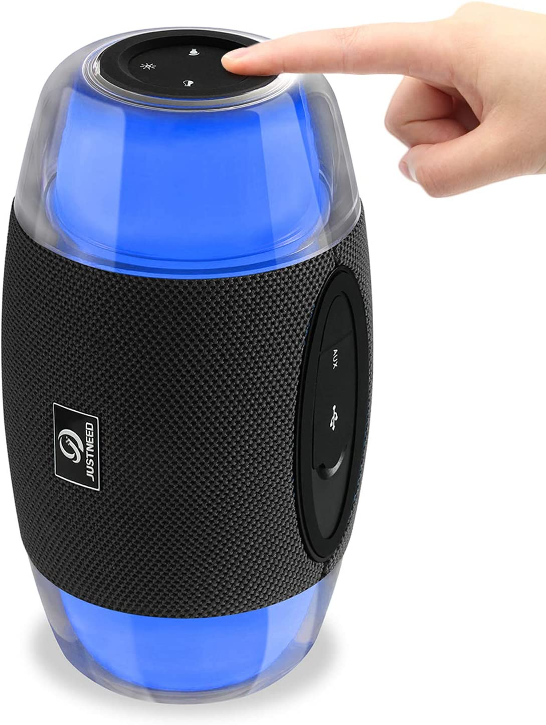Wireless Bluetooth Speaker with Lights - JUSTNEED IPX5 Waterproof 16W Loud Stereo Speaker with 11 Changing RGB Colors LED Lamp for Home Party Camping Beach, Grey