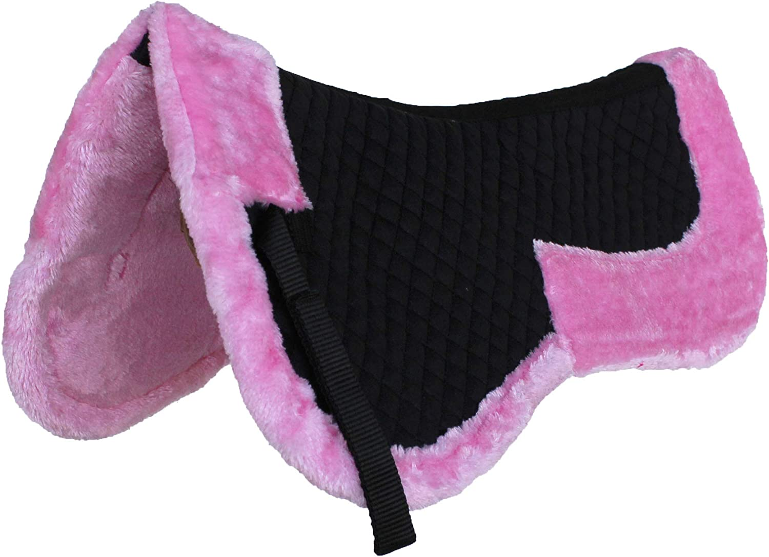 CHALLENGER Horse English Quilted Half Saddle Pad Correction Wither Relief BLK Pink 12218PK