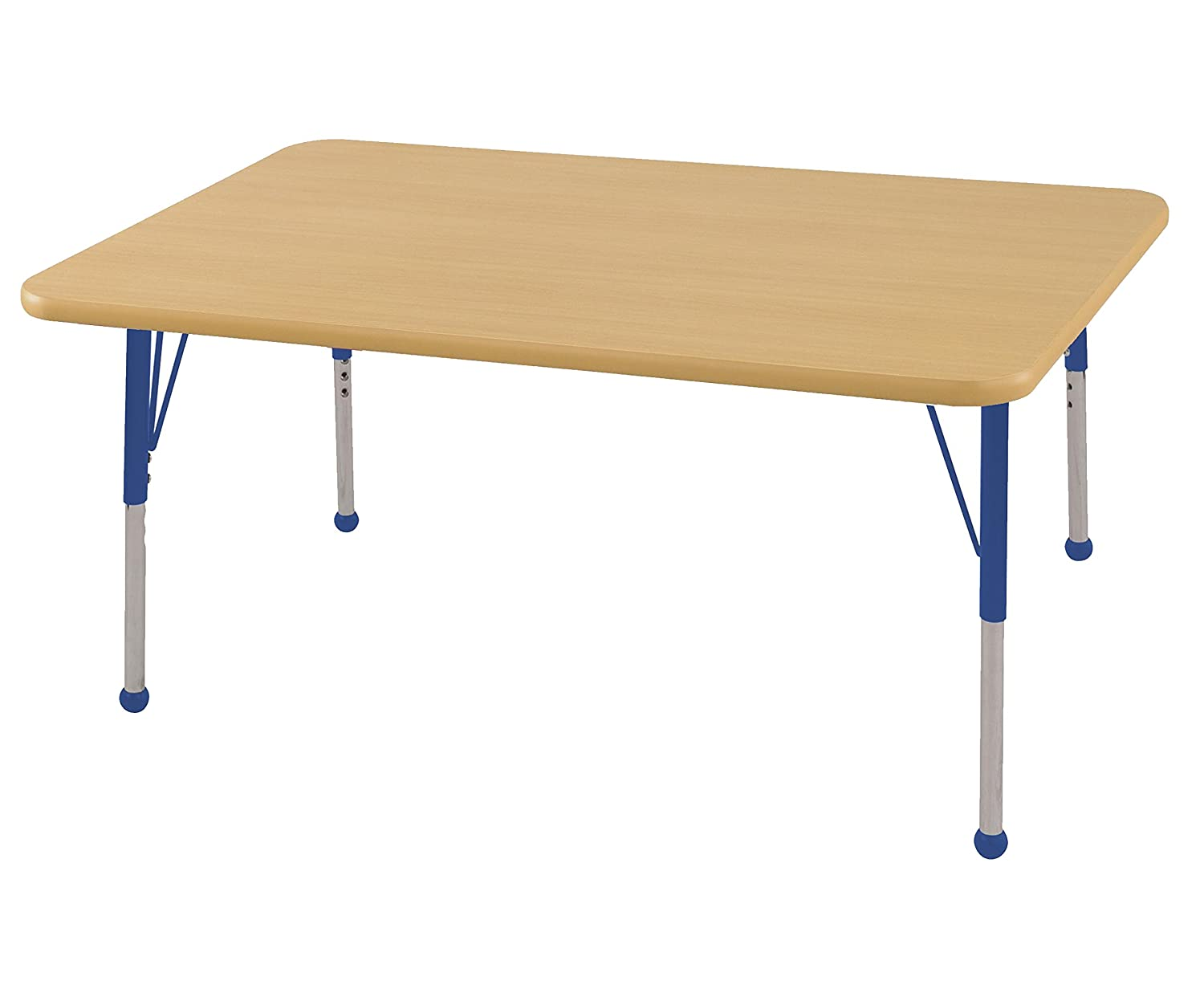 Standard Legs w// Ball Glides Maple//Blue Adjustable Height 19-30 inch ECR4Kids Mesa Thermo-fused 30 x 48 Rectangular School Activity Table
