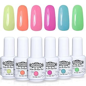Amazon.com : Perfect Summer Gel Polish 6PCS Neon Colors Gel Nail ...