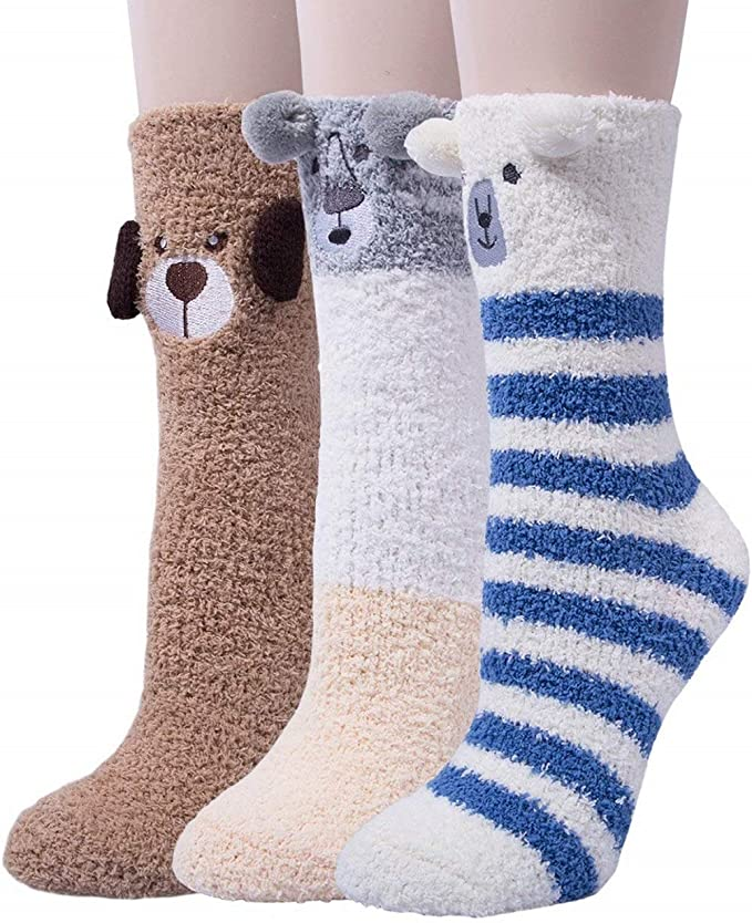 stable quality san francisco best online 3 Pairs Womens Fuzzy Socks Cozy Winter Warm Fluffy Soft Cute Animal Fuzzy  Home Slipper Socks