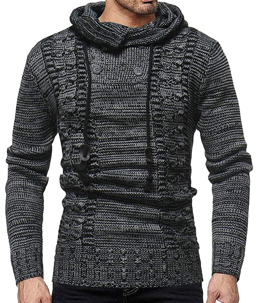 Lutratocro Mens Hoodid Knitted Casual Drawstring Contrast Color Pullover Jumper Sweaters