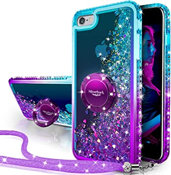 Miss Arts Funda iPhone 6S Plus,iPhone 6 Plus,[Silverback] Carcasa Brillante Purpurina con Soporte giratorios, Transparente Cristal Telefono Fundas Case Cover para Apple iPhone 6/6S Plus -PÚRPURA: Amazon.es: Electrónica