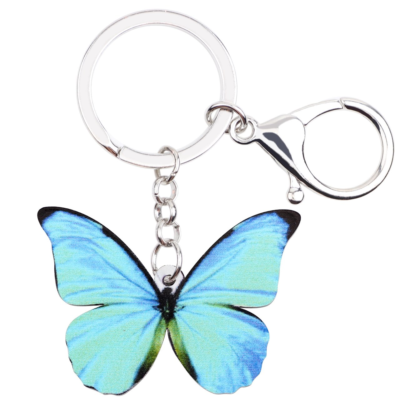Morpho Menelaus Butterfly Key chains For Women Car Purse bag Rings Pendant Charms
