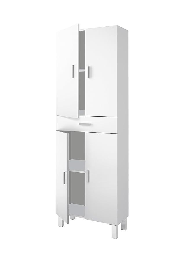 Arkitmobel 305280BO – Columna de baño, mueble auxiliar Aruba acabado en Blanco Brillo, medidas: 60 cm (ancho) x 182 cm (alto) x 29 cm (fondo)