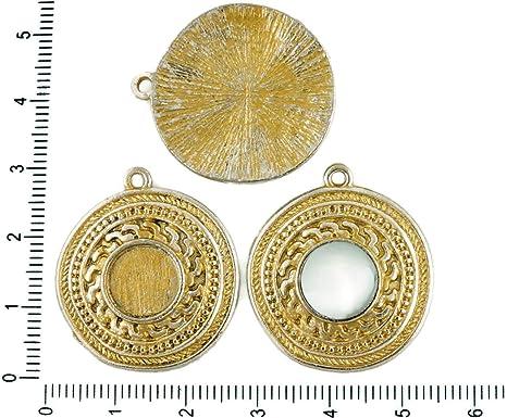 2pcs checa Mate Pátina de Oro Antiguos de Ronda Tono de Plata Colgante Cabujón de Configuración