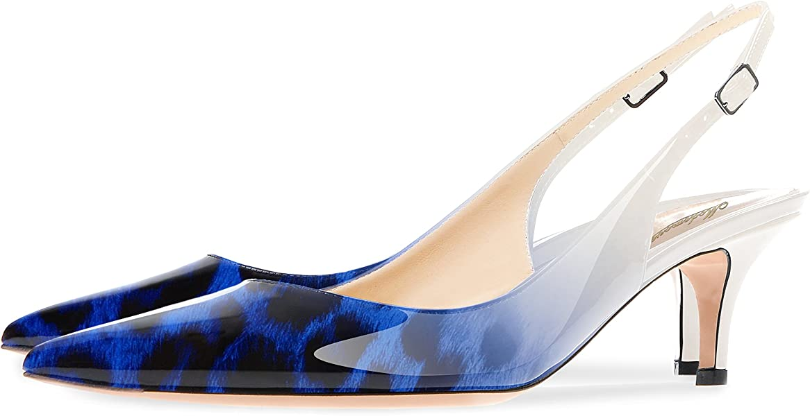 e2048a0f136 Modemoven Women s Leopard Blue Patent Leather Pointed Toe Slingback Ankle  Strap Kitten Heels Pumps Evening Stiletto Shoes - 10 M US
