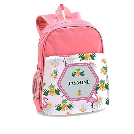 Personalizado directa Tropical Flamingo personalizado mochila para niños, color rosa