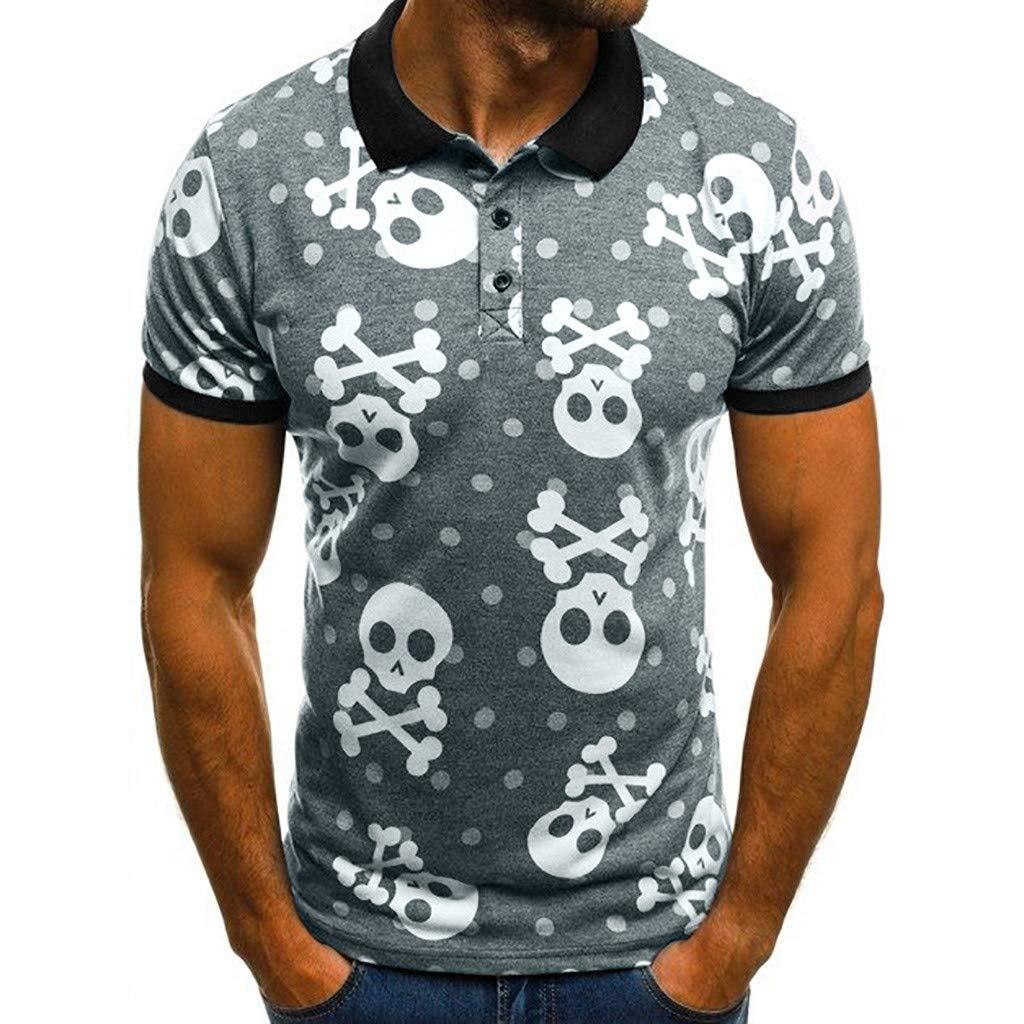 Camisa de Manga Corta de Solapa Hombres Verano Nuevo Calavera ...