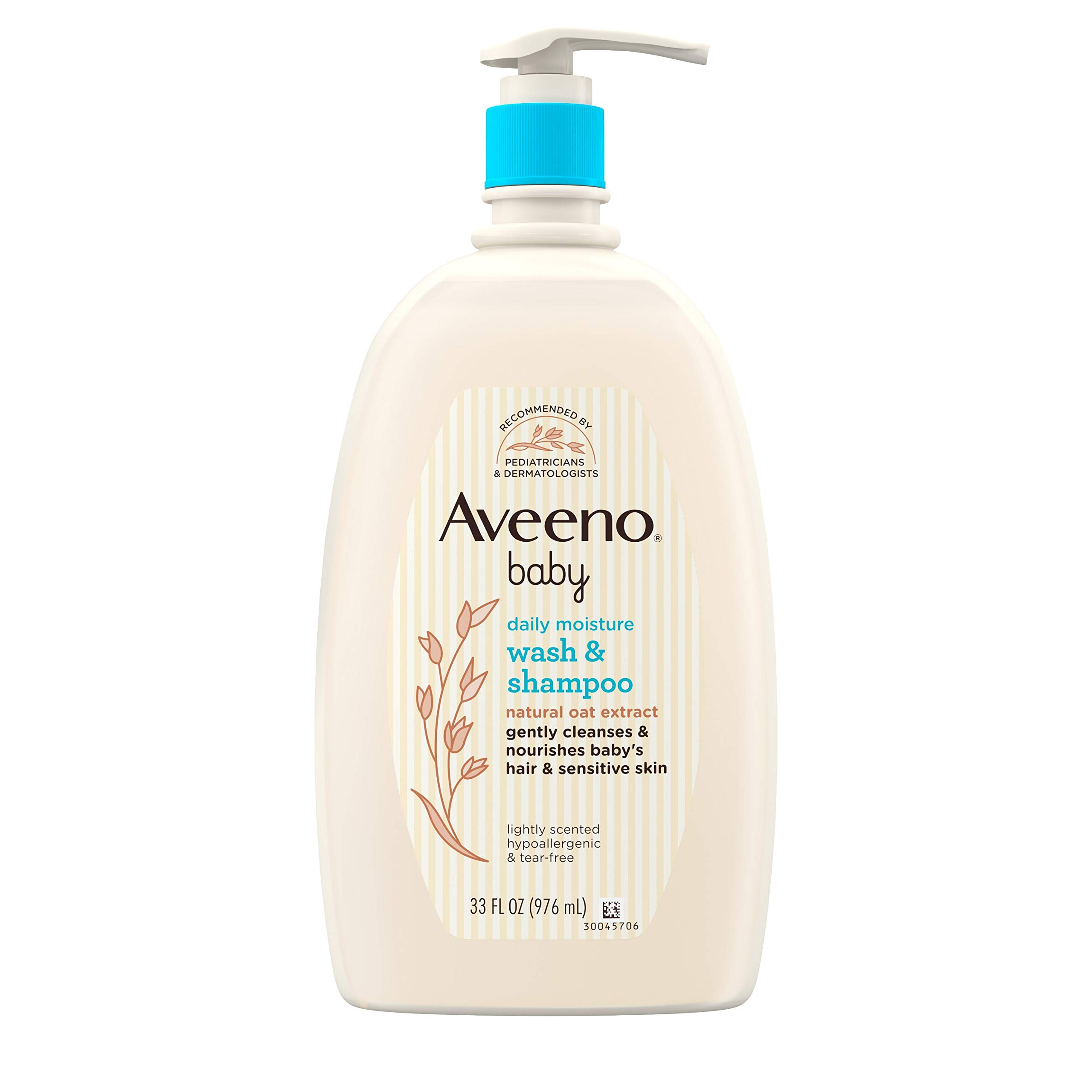 Aveeno Baby Daily Moisture Gentle Bath Wash & Shampoo with Natural Oat Extract, Hypoallergenic, Tear-Free & Paraben-Free Formula for Sensitive Hair & Skin, Lightly Scented, 33 fl. oz