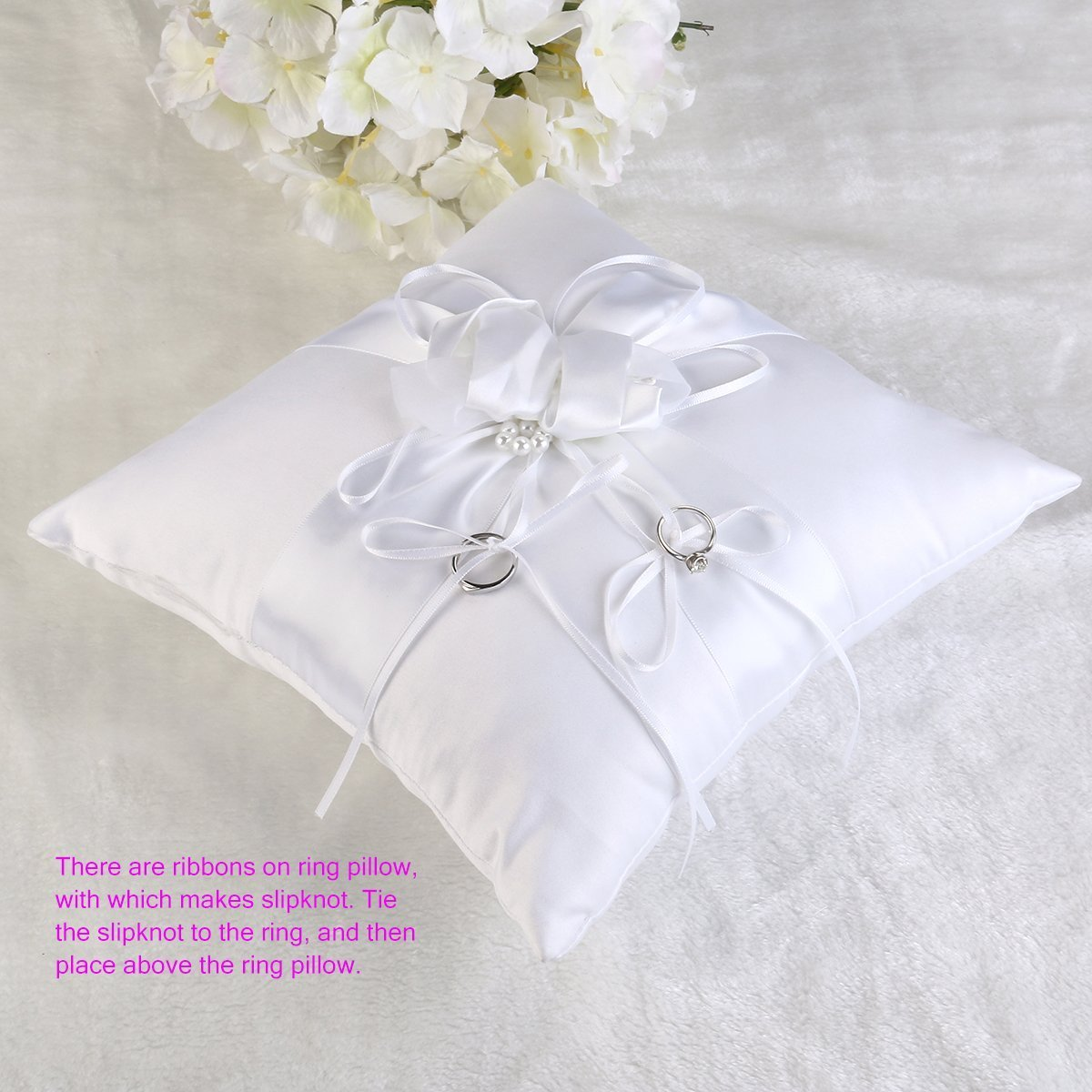 satin bearer white heart crystal pillow pillows store bridal cushion product ring double wedding fashion ceremony