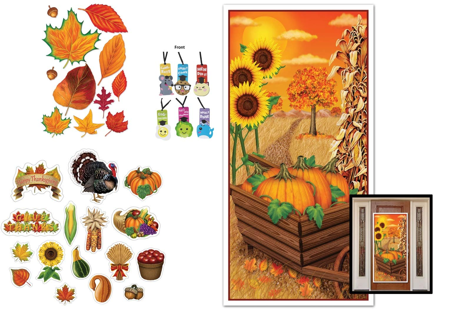 Thanksgiving Fall Autumn Decorations Cutouts and Door Cover 28 Pieces Bulletin Board Classroom and 1 Bookmark Bundle by Beistle