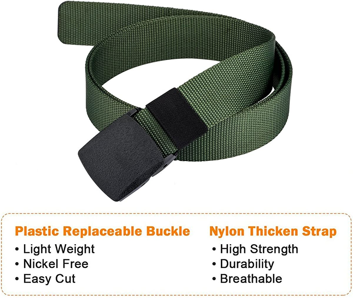 Barry.Wang Nylon Military Tactical Men Belt Webbing Canvas Outdoor Web Belt With Plastic Buckle