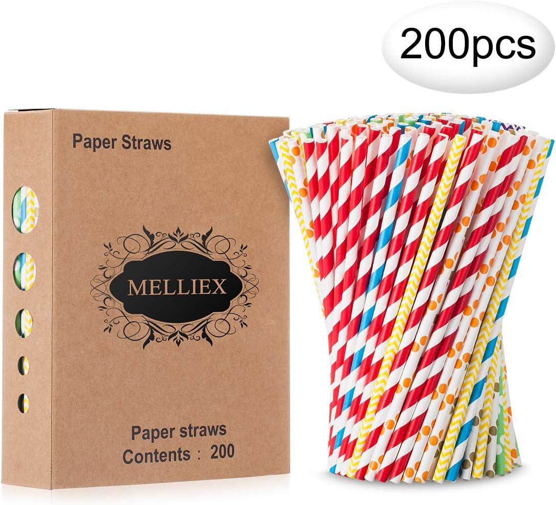 200PCS Pajitas de papel biodegradables Pajitas de papel de colores Pajitas desechables para cumpleaños, bodas, fiestas navideñas, celebraciones
